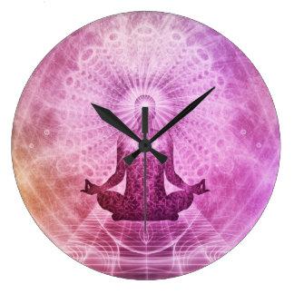 Zen espiritual de la meditación de la yoga reloj redondo grande