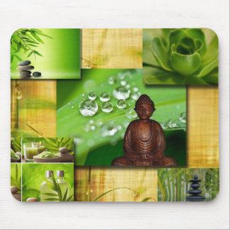 Zen y collage verdes de la serenidad de Buda Alfombrilla De Ratón