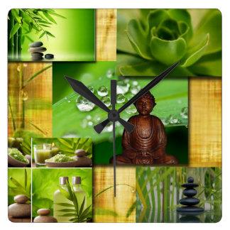 Zen y collage verdes de la serenidad de Buda Reloj Cuadrado