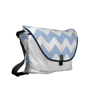 Zigzag azul claro y blanco bolsa messenger