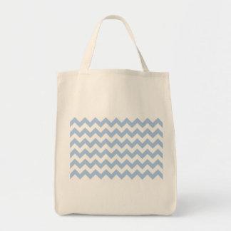 Zigzag azul claro y blanco bolsa tela para la compra