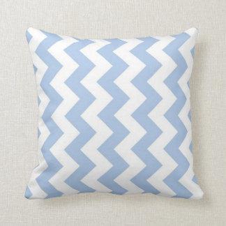 Zigzag azul claro y blanco almohada