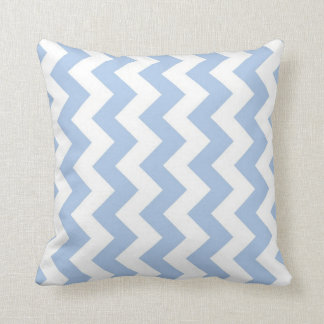 Zigzag azul claro y blanco cojín
