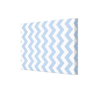 Zigzag azul claro y blanco impresiones en lienzo estiradas