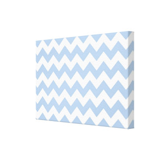 Zigzag azul claro y blanco impresiones en lona estiradas
