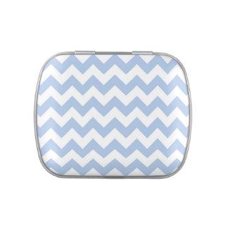 Zigzag azul claro y blanco latas de caramelos