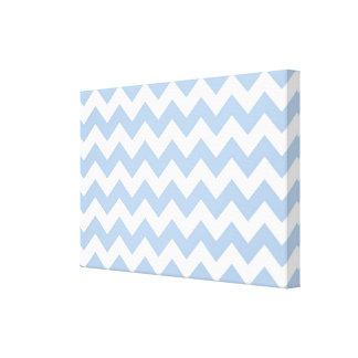 Zigzag azul claro y blanco impresión en lienzo estirada