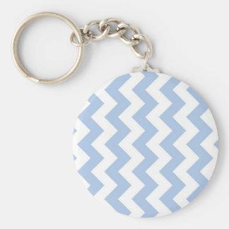Zigzag azul claro y blanco llavero redondo tipo chapa