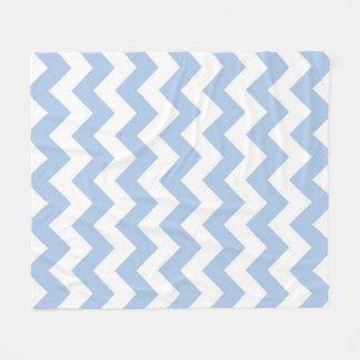 Zigzag azul claro y blanco manta de forro polar