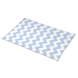Zigzag azul claro y blanco mantel individual