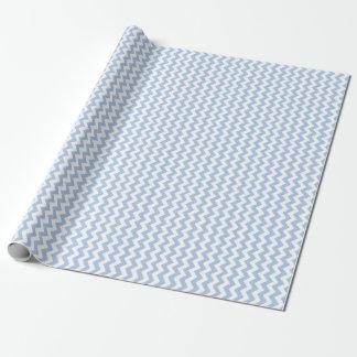 Zigzag azul claro y blanco papel de regalo