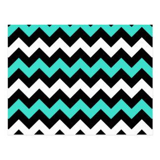 Zigzag blanco negro de la turquesa postal