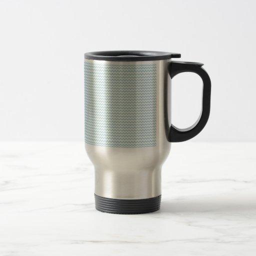 Zigzag - blanco y azul claro taza de café