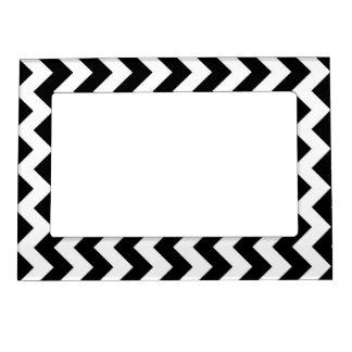 Zigzag blanco y negro marcos magneticos de fotos