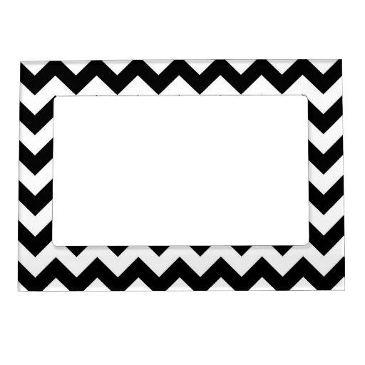 Zigzag blanco y negro marcos magnéticos de fotos