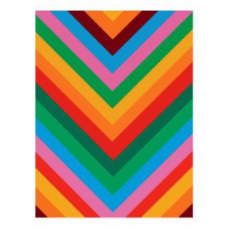 Zigzag colorido Chevron del arco iris Postal