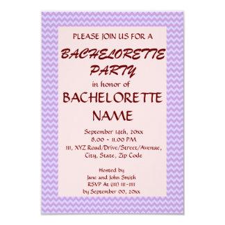 Zigzag Fiesta-Violeta de Bachelorette, fondo Invitación 8,9 X 12,7 Cm