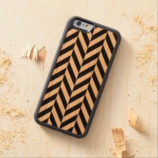 Zigzag negro de Chevron en el caso de madera del Funda Protectora De Cerezo Para iPhone 6 De Carved