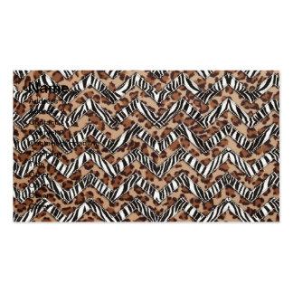 Zigzags del estampado de animales tarjetas de visita