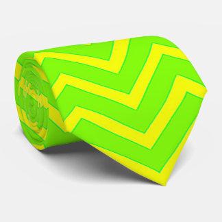 zigzags verdes y amarillos de neón corbata