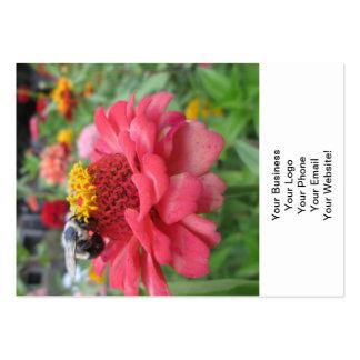 Zinnia bonito con la abeja plantilla de tarjeta de negocio