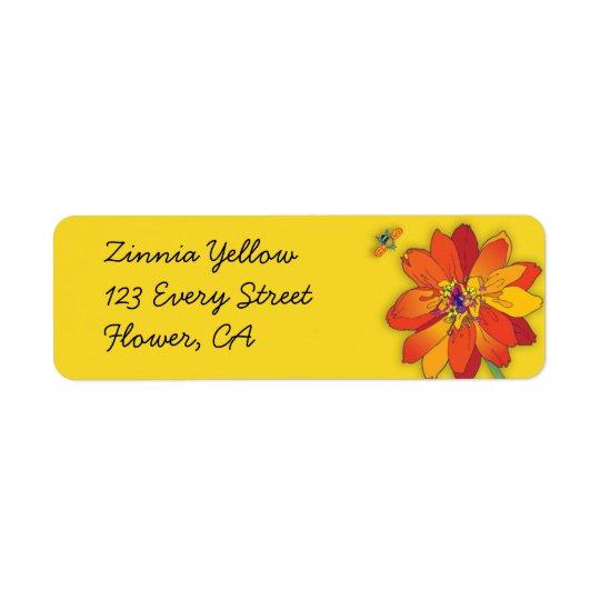 'Zinnia Yellow Etiqueta De Remite