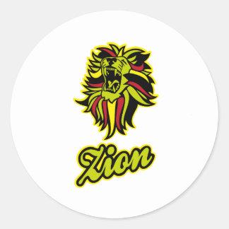 Zion. Iron Lion Zion HQ Color Edition Pegatina Redonda