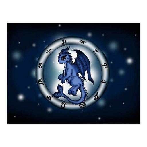 Zodiaco de Piscis del dragón Tarjeta Postal