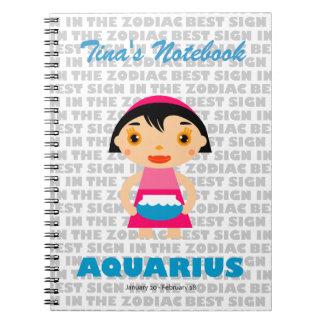 Zodiaco del acuario para los niños libro de apuntes