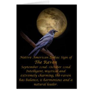 Zodiaco del nativo americano el cuervo tarjeta de felicitación
