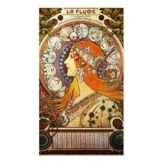 Zodiaco del penacho del La de Alfonso Mucha Tarjetas De Visita