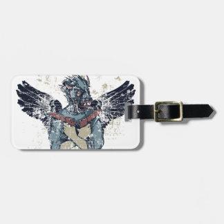 zombi del vuelo con las alas etiqueta para maletas