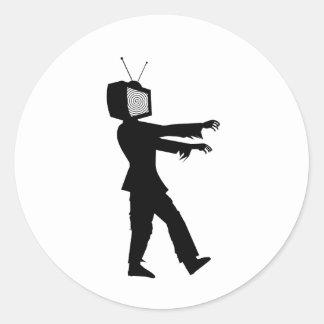 Zombi TV Pegatina Redonda