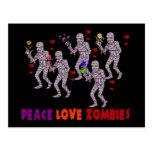 Zombis del amor de la paz tarjetas postales