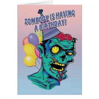 Zombody está teniendo una tarjeta del zombi del