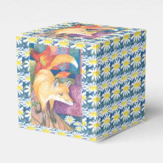 zorro con la caja de regalo de las margaritas