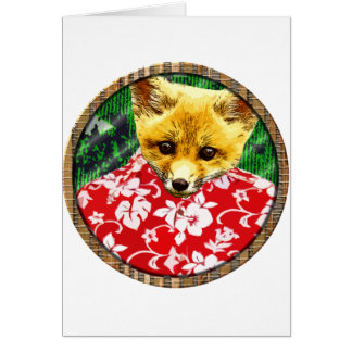 zorro hawaiano redondo tarjeta de felicitación