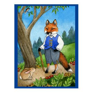 Zorro lindo, postal del cuento de hadas del conejo