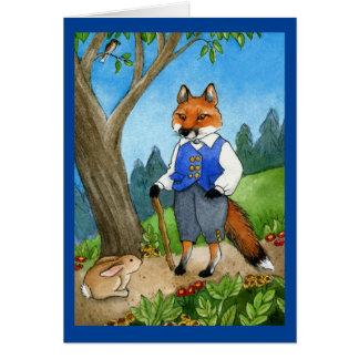 Zorro lindo, tarjeta de felicitación del conejo de