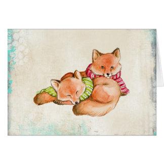 Zorros en tarjeta de Navidad de las bufandas