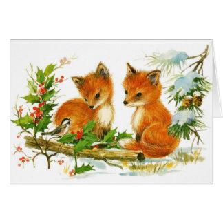 Zorros lindos del navidad del vintage tarjeta pequeña