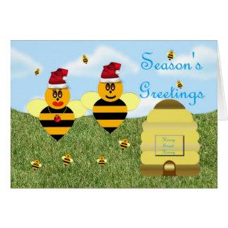 Zumbido del colmenar de la abeja de la miel de los tarjeta de felicitación